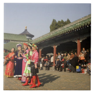 Costumed amateur folk dancers entertain tile