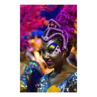 Costumed Attractive Dancer Woman at Carnival Parad Stationery