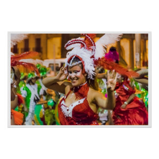 Costumed Attractive Young Woman Dancer at Carnival Poster