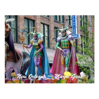 Costumed Mardi Gras Parade Figures Postcard