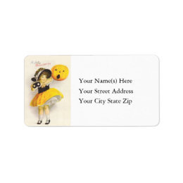 Costumed Miss With Jack O Lantern Address Label