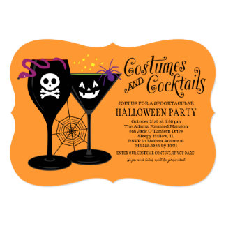 Costumes and Cocktails   Halloween Party 5x7 Paper Invitation Card