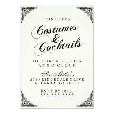 Halloween Themed Costumes and Cocktails Halloween Party in Cream Card