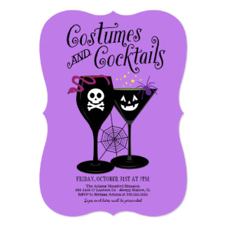 Costumes and Cocktails | Halloween Party 5x7 Paper Invitation Card