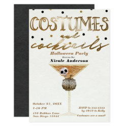 Costumes & Cocktails Elegant Chic Halloween Party Invitation