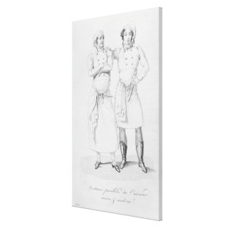 Costumes of cooks from different eras stretched canvas prints