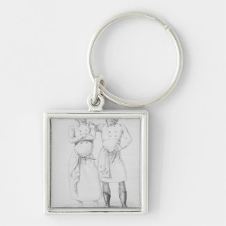 Costumes of cooks from different eras keychains