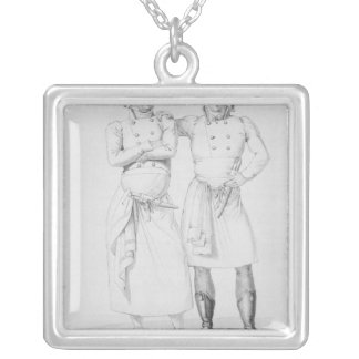 Costumes of cooks from different eras silver plated necklace