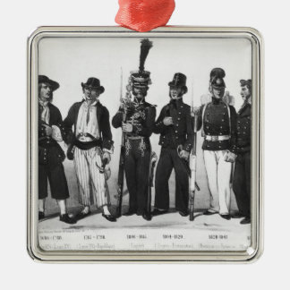 Costumes of French marines from 1680 to 1854 Square Metal Christmas Ornament