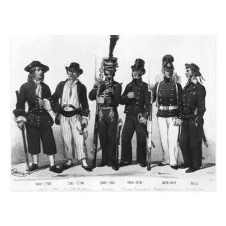 Costumes of French marines from 1680 to 1854 Postcard