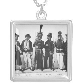 Costumes of French marines from 1680 to 1854 Silver Plated Necklace