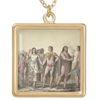 Costumes of the Mexicans (colour engraving) Square Pendant Necklace