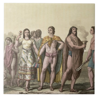 Costumes of the Mexicans (colour engraving) Tile