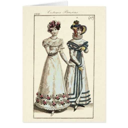 Costumes Parisiens 1821 Fashion Plate Greeting Cards
