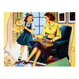 Costura de costura del encaje de aguja del kitsch tarjeta postal