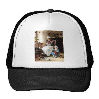 Costura de la abuela y de la nieta gorras de camionero