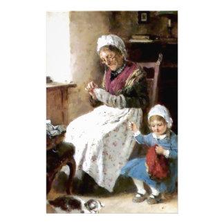 Costura de la abuela y de la nieta papelería