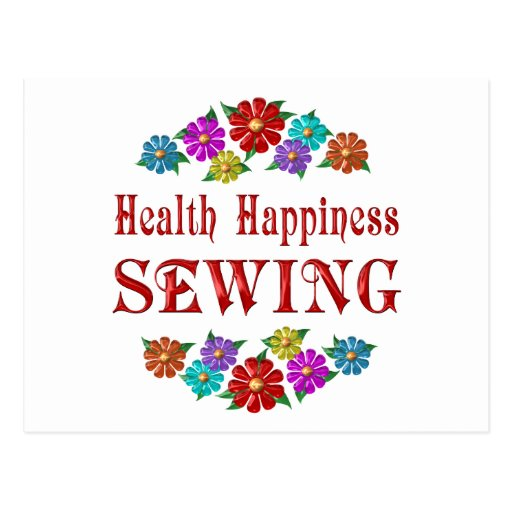 Costura de la felicidad de la salud tarjeta postal