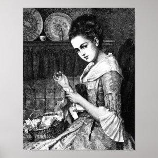 Costura de la mujer impresiones