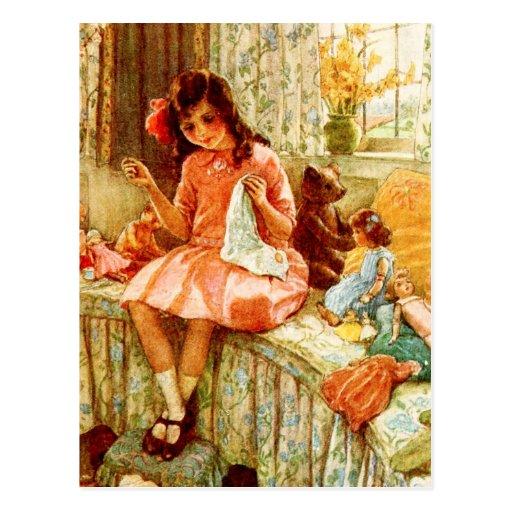 Costura de la niña tarjetas postales