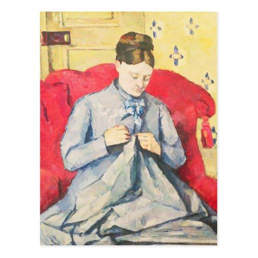 Costura de señora Cezanne Tarjetas Postales