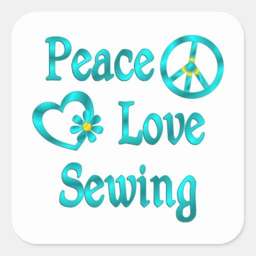Costura del amor de la paz calcomanía cuadradase