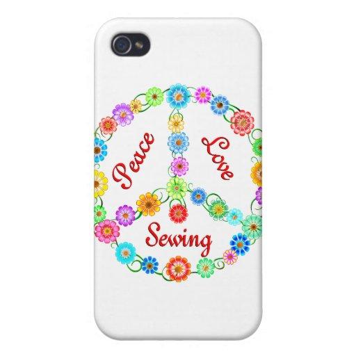 Costura del amor de la paz iPhone 4 protectores