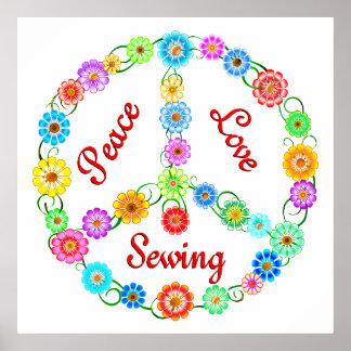 Costura del amor de la paz póster
