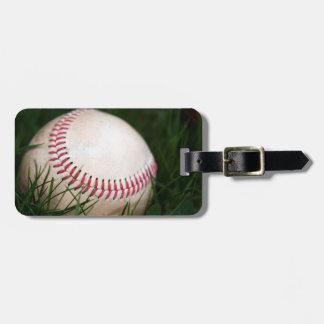 Costura del béisbol etiqueta para equipaje