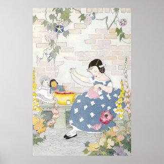 Costura en un jardín del Foxglove y de amapolas Impresiones