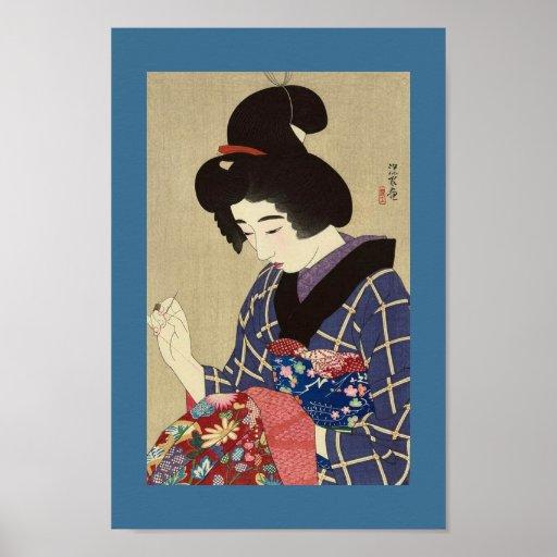 COSTURA japonesa de la MUJER de la imagen del vint Poster