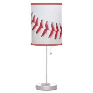 Costura roja del béisbol blanco lámpara de mesa