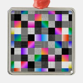 Costuras de Mondrian Adorno Navideño Cuadrado De Metal