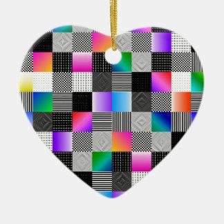 Costuras de Mondrian Adorno Navideño De Cerámica En Forma De Corazón