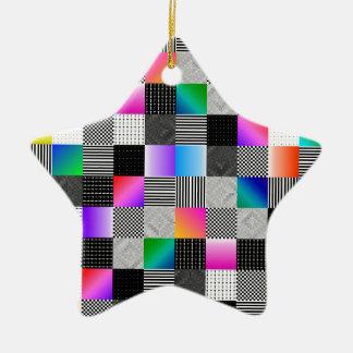Costuras de Mondrian Adorno Navideño De Cerámica En Forma De Estrella