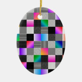 Costuras de Mondrian Adorno Navideño Ovalado De Cerámica