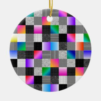 Costuras de Mondrian Adorno Navideño Redondo De Cerámica