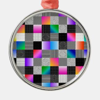 Costuras de Mondrian Adorno Navideño Redondo De Metal