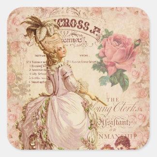 Costuras del Mademoiselle Pegatina Cuadrada