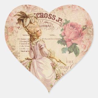 Costuras del Mademoiselle Pegatina En Forma De Corazón