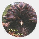 Costuras del pollo pegatina redonda