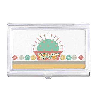costurera floral de costura del acerico de los caja de tarjetas de visita