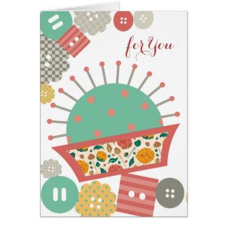 costurera floral de costura del acerico de los tarjeta