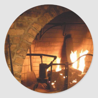 Cosy Fireplace Classic Round Sticker
