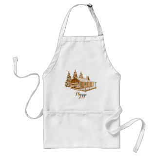 Cosy Log Cabin - Hygge or your own text Adult Apron
