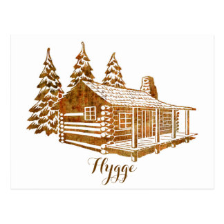 Cosy Log Cabin - Hygge or your own text Postcard