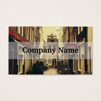 Cosy Street In Amsterdam, Retro Vintage Colors Business Card