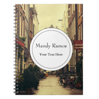 Cosy Street In Amsterdam, Retro Vintage Colors Notebook