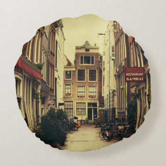 Cosy Street In Amsterdam, Retro Vintage Colors Round Pillow
