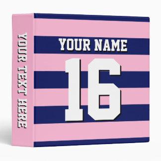 Cot Candy Pink Navy Blue Team Jersey Preppy Stripe 3 Ring Binder